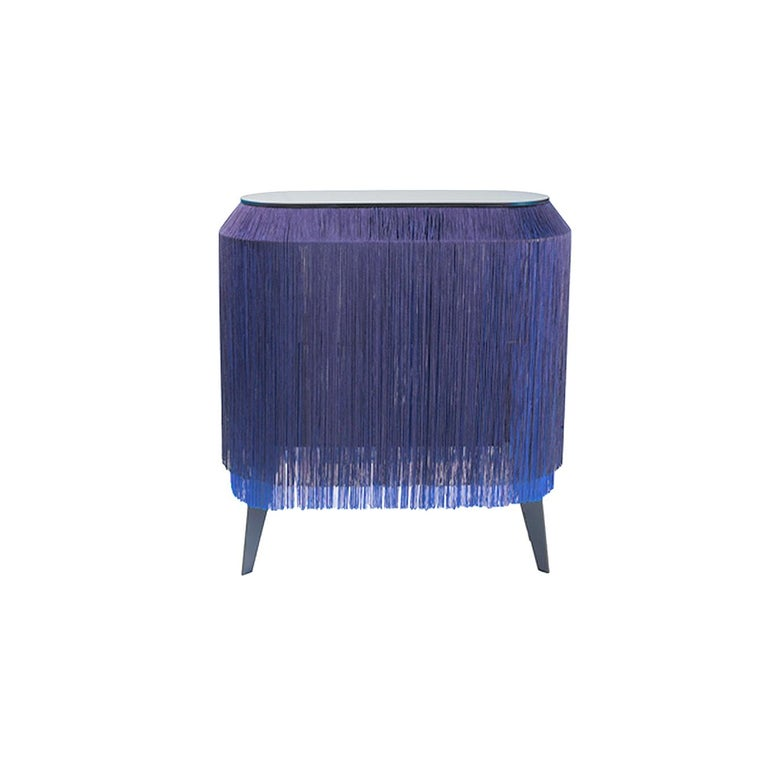 Modern In Stock in Los Angeles, Blue Fringe Side Table / Nightstand, Made in France For Sale