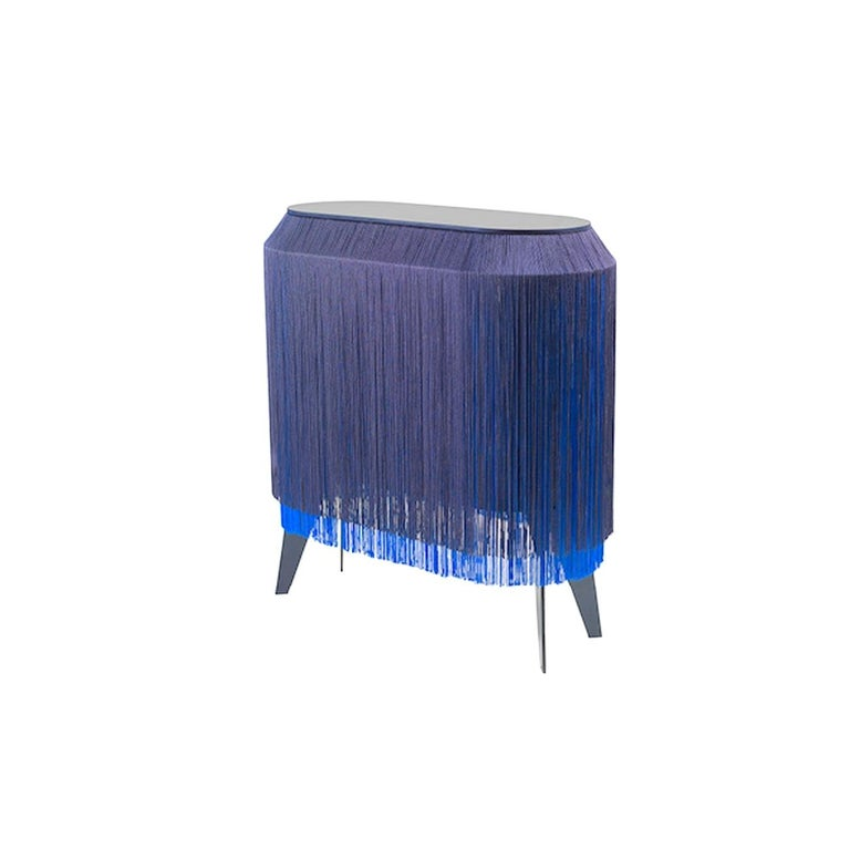 Fabric In Stock in Los Angeles, Blue Fringe Side Table / Nightstand, Made in France For Sale
