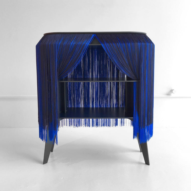 In Stock in Los Angeles, Blue Fringe Side Table / Nightstand, Made in France For Sale 1