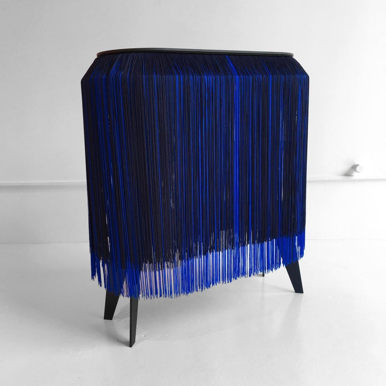 Contemporary In Stock in Los Angeles, Blue Fringe Side Table / Nightstand, Made in France For Sale