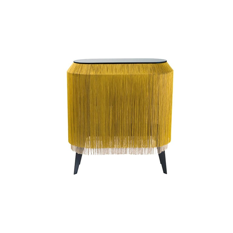 Wood Yellow Gold Fringe Side Table / Nightstand, Made in France For Sale
