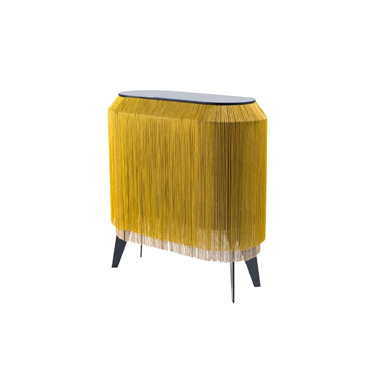 Yellow Gold Fringe Side Table / Nightstand, Made in France In New Condition For Sale In Beverly Hills, CA