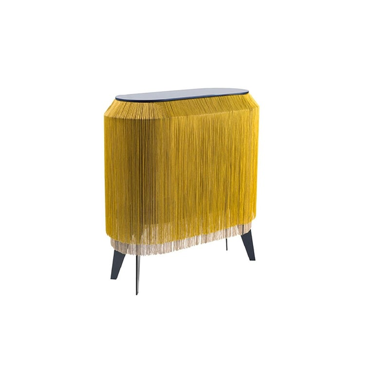 Contemporary Yellow Gold Fringe Side Table / Nightstand, Made in France For Sale