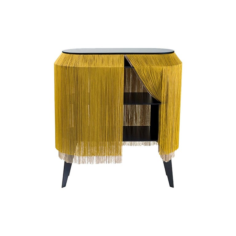 Collectioni, Gold Fringe Cabinet, Made in France For Sale