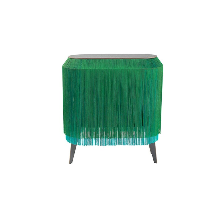 Modern Green fringe cabinet, made in France For Sale