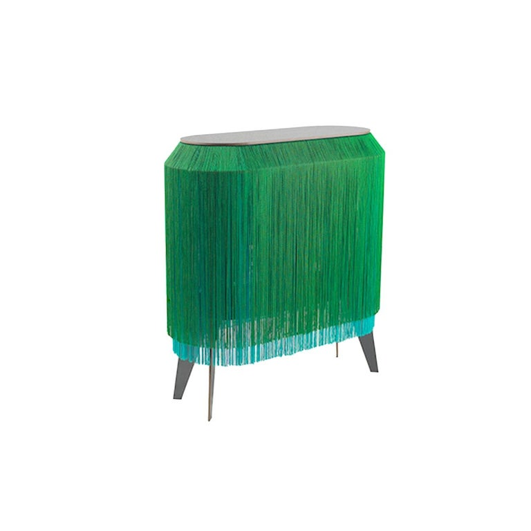 French Green fringe cabinet, made in France For Sale