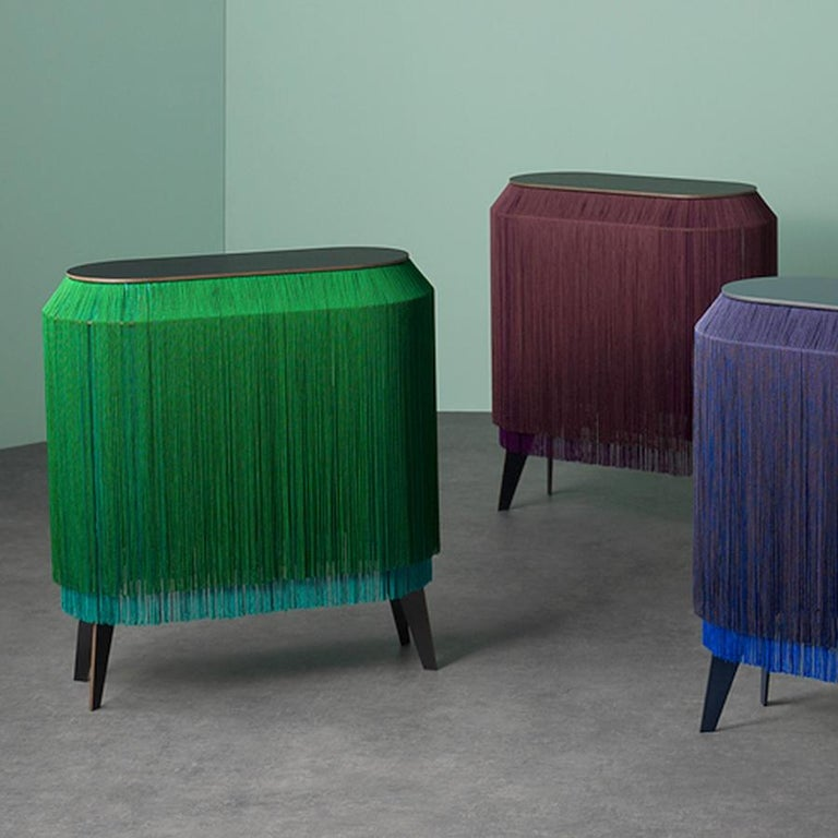 Green fringe cabinet, made in France In New Condition For Sale In Beverly Hills, CA