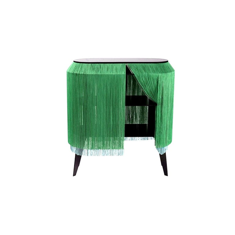 Green fringe cabinet, made in France For Sale