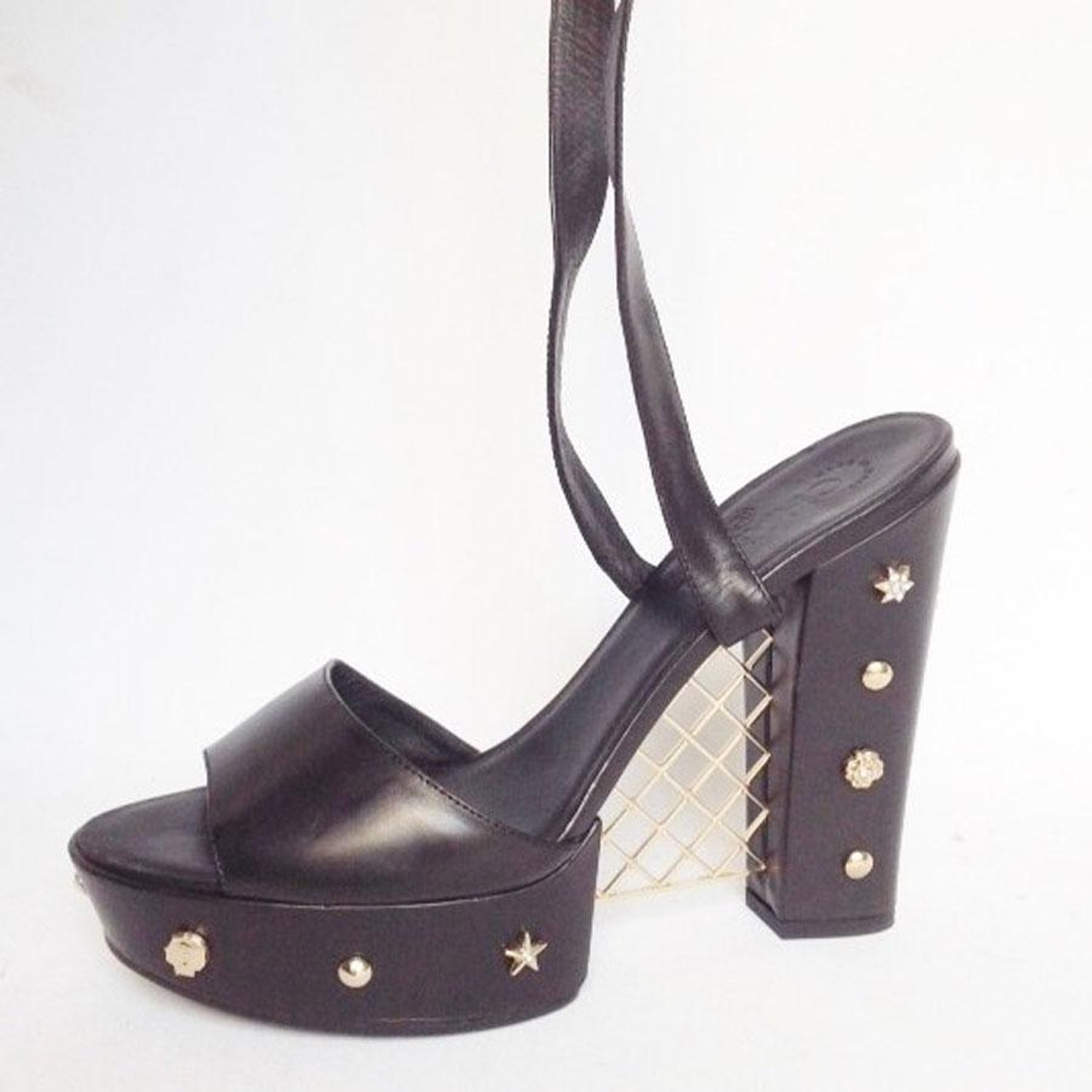 f8969b03a2b Collector CHANEL Platform Sandals in Black Box Leather and Gilt Metal 39.5  For Sale at 1stdibs