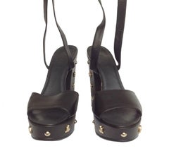 Collector CHANEL Platform Sandals in Black Box Leather and Gilt Metal 39.5