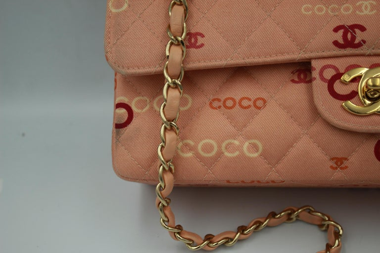 Brown Collector Chanel Timeless bag in Pink Canvas For Sale