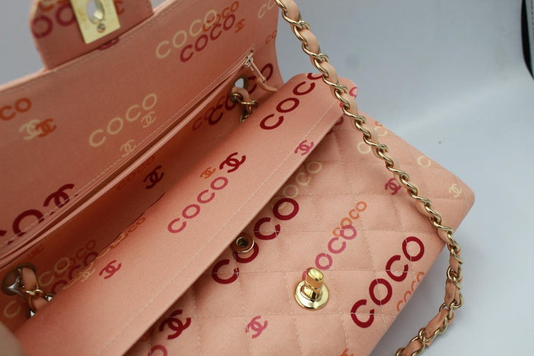 Collector Chanel Timeless bag in Pink Canvas For Sale 1