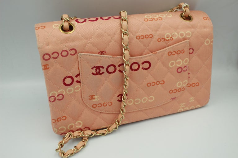 Collector Chanel Timeless bag in Pink Canvas For Sale 2
