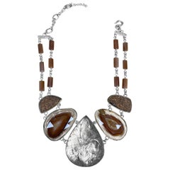 Stephen Dweck Collector Choker Necklace with Hand-carved Topaz
