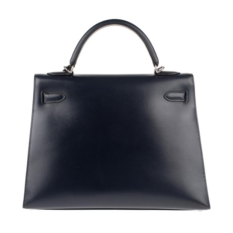 Black Collector Hermès Kelly 32 handbag with strap in navy blue calfskin box leather! For Sale