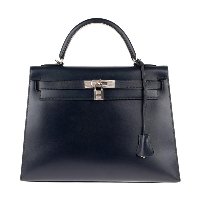 Collector Hermès Kelly 32 handbag with strap in navy blue calfskin box leather! For Sale