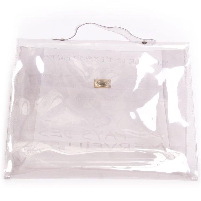 aebd7903a1c1 Collector HERMES Vintage Kelly Bag  Au Pays des Merveilles  in Transparent  Vinyl In Good