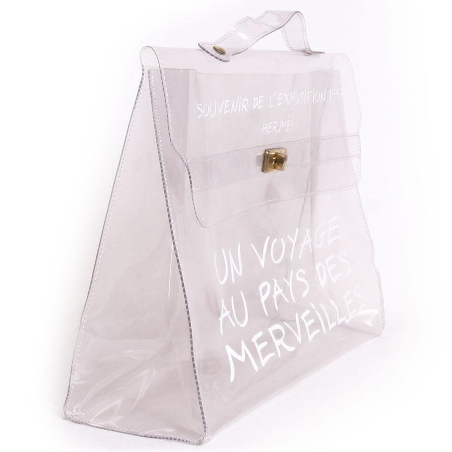 3cd0b86525a0 Collector HERMES Vintage Kelly Bag  Au Pays des Merveilles  in Transparent  Vinyl For Sale at 1stdibs
