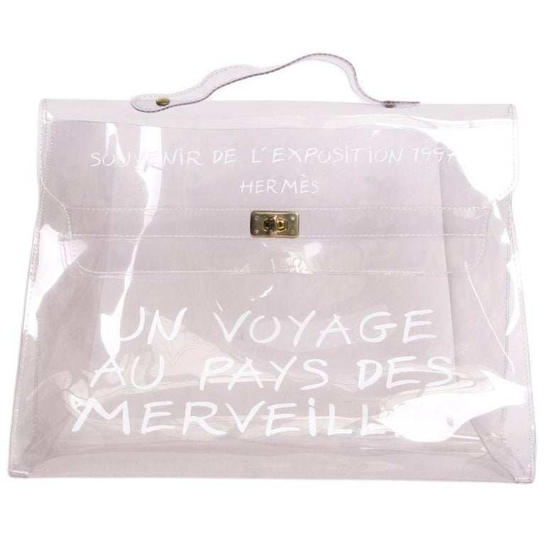 2c40973d1f36 Collector HERMES Vintage Kelly Bag  Au Pays des Merveilles  in Transparent  Vinyl For Sale