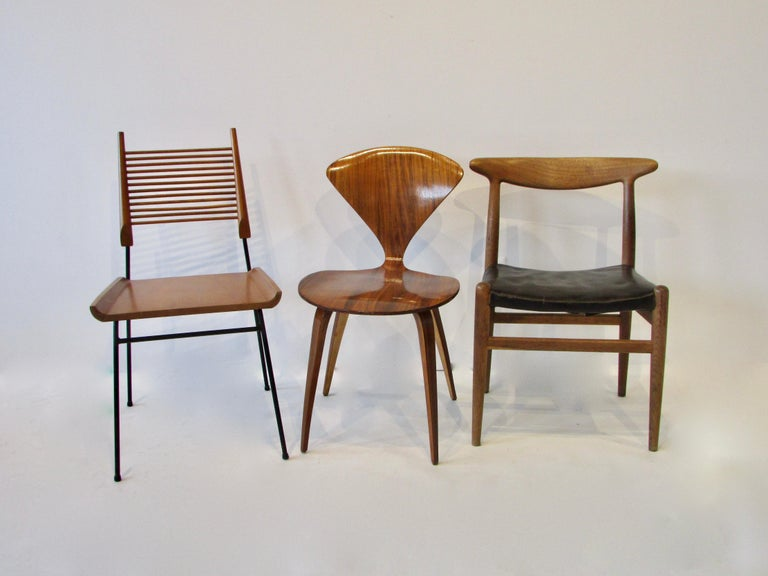 Instant collection six dining chairs by mid century design icons. Paul McCobb Planner Group dowel chair for Winchedon. Eero Saarinen for Knoll, Norman Cherner chair, Harry Bertoia for Knoll wire chair , Charles and Ray Eames fiberglass shell chair