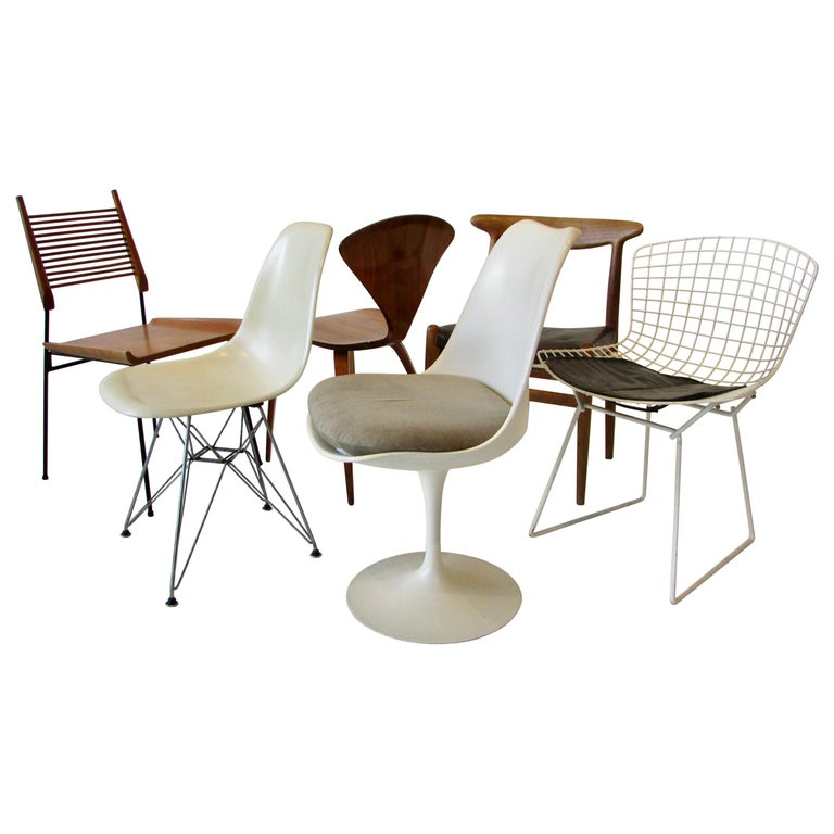 Collector Set of Six Dining Chairs Eames Saarinen McCobb Wegner Bertoia Cherner