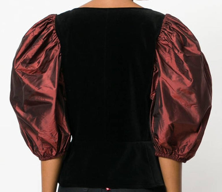 Gray Yves Saint Laurent Velvet Corset Top  For Sale