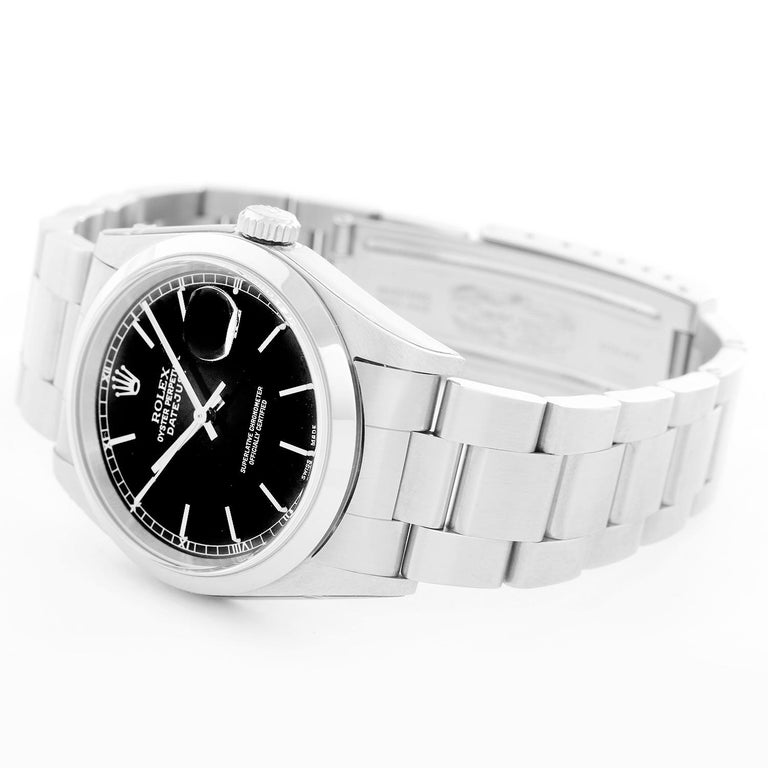 Collectors Edition Rolex Datejust Men's Stainless Steel Watch 16200 - Automatic winding, Quickset, sapphire crystal. Stainless steel case with smooth bezel (36mm diameter). Black dial with stick numerals. Stainless steel Oyster bracelet. New old