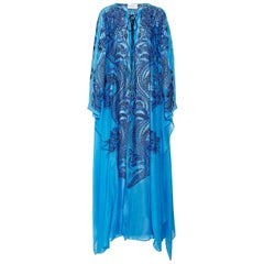 Collector's Emilio Pucci by Peter Dundas Lace-Up Embroidered Maxi Kaftan Dress