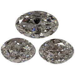 Collectors Set of Three D Internally Flawless Type llA Diamonds 16+ Carat GIA