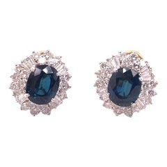 Collectors Special 9 Carat Blue Sapphire and Diamond Omega Back Earrings in 14k