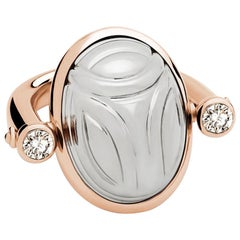 Scarab Ring in Rose and White Gold with Diamonds