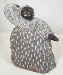 'Excited Girl' original Shona stone sculpture signed by Colleen Madamombe