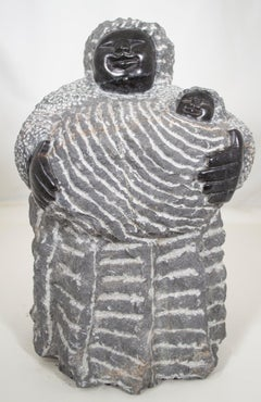 'Grandmother With Her Granddaughter' Shona stone sculpture by Colleen Madamombe