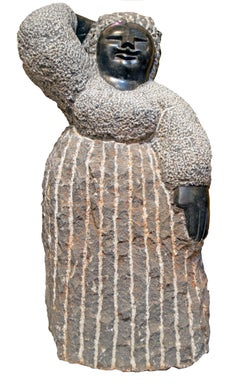 'Preoccupied' original signed Shona stone sculpture by Colleen Madamombe