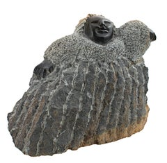 """""""Welcome (C-6),"""" black serpentine figurative sculpture by Colleen Madamombe"""