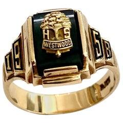 College Ring, Westwood, USA High School, 1958, 10 Karat Yellow Gold