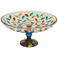 Colleoni Modern Crystal Murano Glass Compote Dish / Tazza with Colorful Leaves