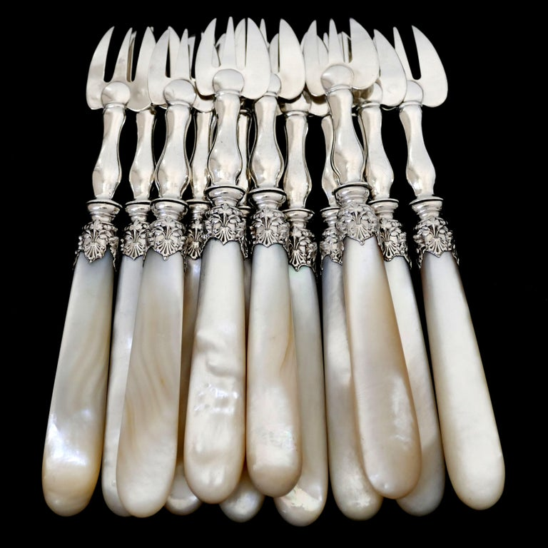 Art Nouveau Collet French Sterling Silver and Mother-of-pearl Oyster Forks Set 12 Pc, Box For Sale