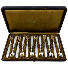 Collet French Sterling Silver and Mother-of-pearl Oyster Forks Set 12 Pc, Box