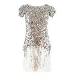 Collette Dinnigan Feather-Trimmed Sequin Dress