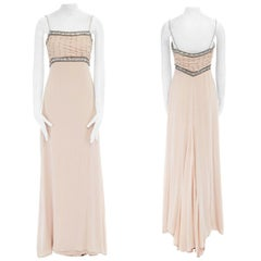 COLLETTE DINNIGAN rose blush silk crystal jewel embellished pleated bust gown S