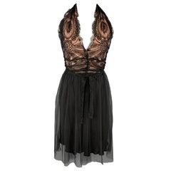 COLLETTE DINNIGAN Size M Black Silk Lace Tulle Skirt Halter Cocktail Dress