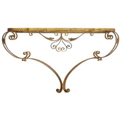 Colli Art Glass and Golden Wrought Iron Structure Small Table Console, 1950s