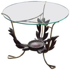 Colli Round Mid-Century Modern Italian Table Coffee Leaves Brass Sculpture Glass