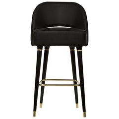 Collins Bar Chair in Black with Brass Detail