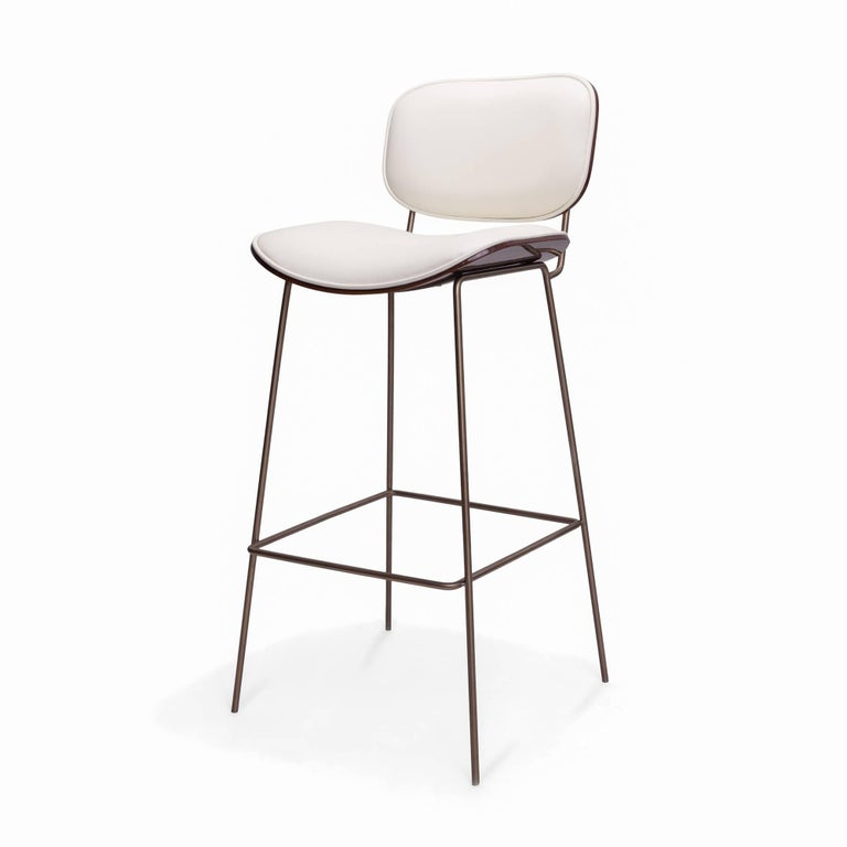Modern Collins Bar Stool with Ebony and Leather Back and Seat For Sale