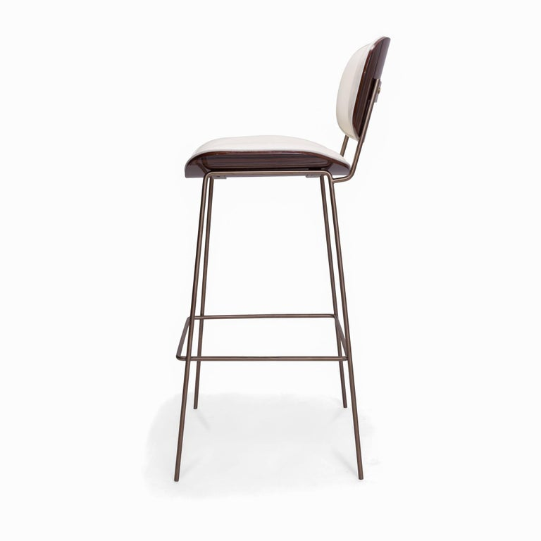 Collins Bar Stool with Ebony and Leather Back and Seat In New Condition For Sale In Westport, CT