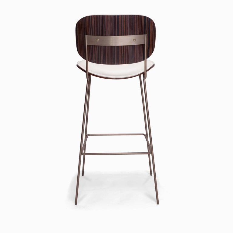 Contemporary Collins Bar Stool with Ebony and Leather Back and Seat For Sale