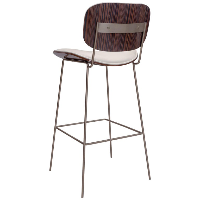 Collins Bar Stool with Ebony and Leather Back and Seat For Sale