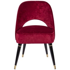 Collins Dining Chair in Red Velvet